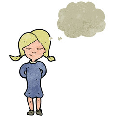 retro cartoon blond girl with thought bubble