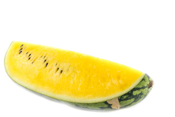 Yellow juicy watermelon slice on white