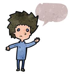 retro cartoon worried boy with speech bubble