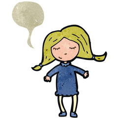 retro cartoon blond woman with speech bubble