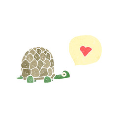 retro cartoon tortoise in love