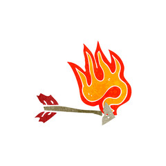 retro cartoon flaming arrow