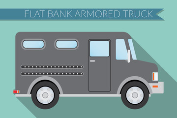 Flat design vector illustration city Transportation, bank armored Truck, side view