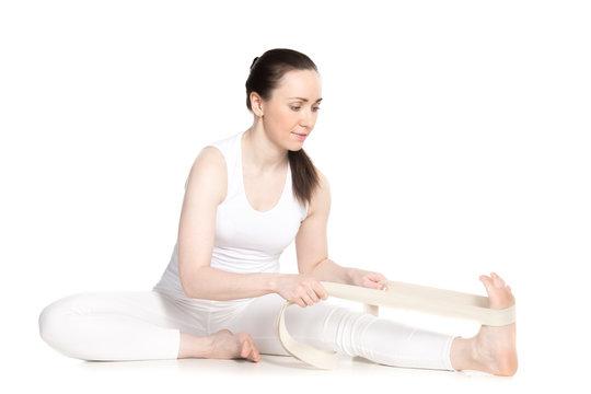 Yoga with props, Janu Sirsasana yoga asana