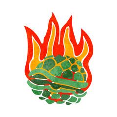 retro cartoon flaming tortoise shell