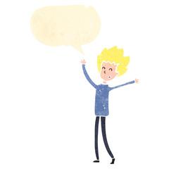 retro cartoon happy blond person