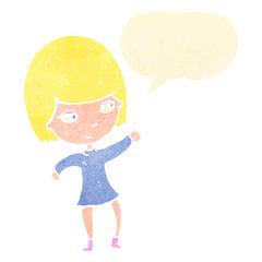 retro cartoon happy blond girl with speech bubble