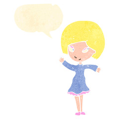 retro cartoon happy blond girl with speech bubble