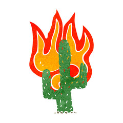 retro cartoon burning wild west cactus