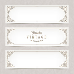Paper white banners with flourishes calligraphic elegant ornamental frames