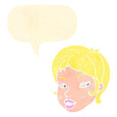 retro cartoon blond female face with speech bubble