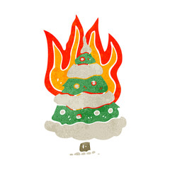 flaming christmas tree retro cartoon