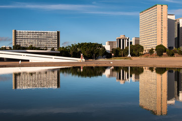 South Banking Sector of Brasilia Reflected on Water