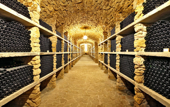 The ancient bottles of wine in the ancient cellar
