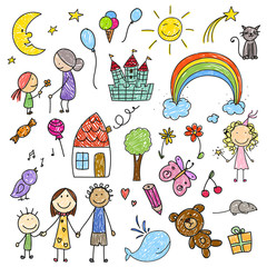 Vector Illustration of a Collection of Children Drawings
