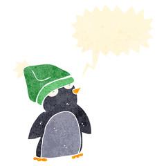 retro cartoon penguin in hat