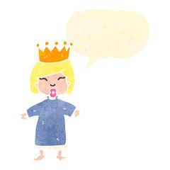 retro cartoon little princess with speech bubble
