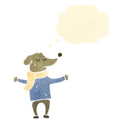 retro cartoon dog in clothes