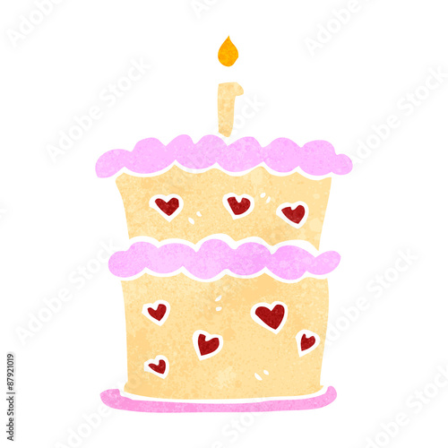 Retro Cartoon Birthday Cake Stock Image And Royalty Free Vector