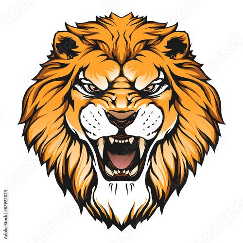 Roaring lion head art