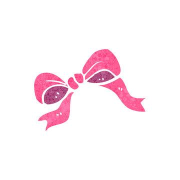 retro cartoon pink bow symbol