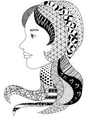 Islamic and nationality tradition, hijab. Vector illustration