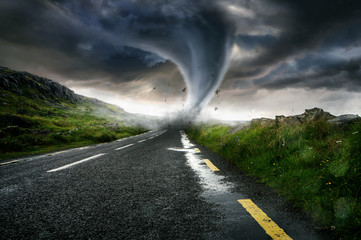 Tornado destroys a street