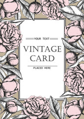 Vintage elegant card with peony flowers. Black and white ink vec