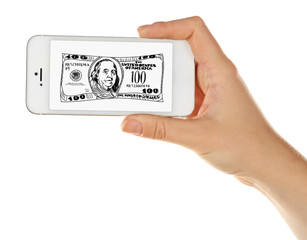 Money concept. Hand holding mobile smart phone with dollars image isolated on white