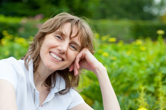 Smiling middle age woman portrait