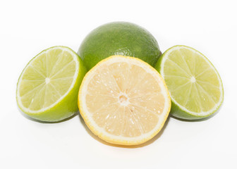 limes and lemons isolated