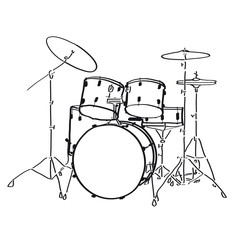 Drumset with Cymbals - Illustration