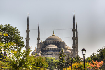 View over the Blue Mosque in Istanbul, Turkey