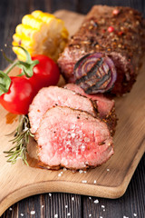 Roast beef grilled vegetables