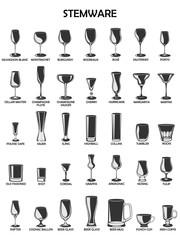 Stemware set,vector illustration on a white background.
