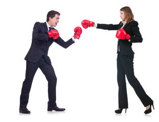 Two business partners boxing isolated on white