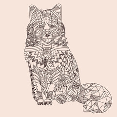 Patterned fox zentangle style. Good for T-shirt, bag or whatever print. Vector illustration