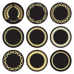 Hand-drawn golden laurel wreaths .Nautical frame motifs.