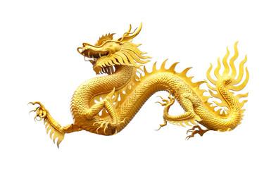 Golden dragon statue on white background.