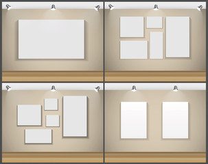 Frame on Wall for Your Text and Images Set, Vector Illustration