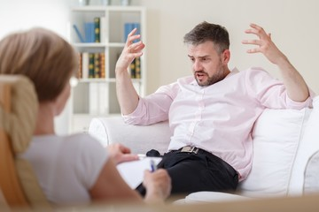 Upset patient during psychotherapy