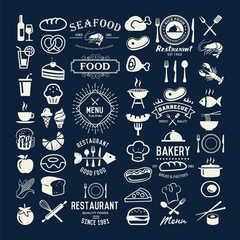 Food vintage design elements, logos, badges, labels, icons and objects
