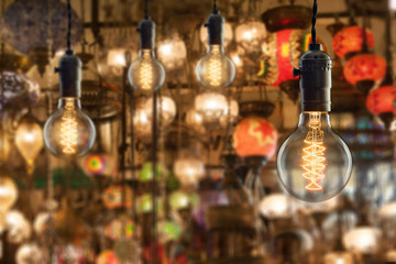 Vintage incandescent bulbs on light equipment market in Istanbul