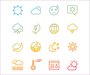 Weather icons vector outline set. Moon, sky or wind and cloud