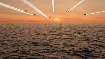 Fighter Jets Flying Into The Sunset With Vapor Trails