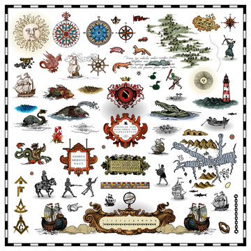 antique map elements collection