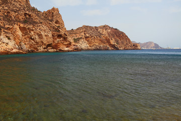 Sea gulf and rocky coast. Cartagena, Spain