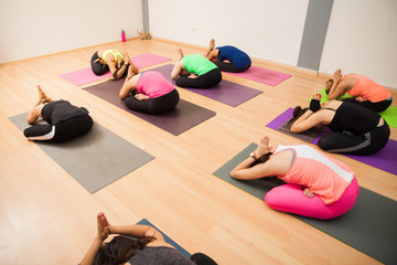 Wide angle view of a yoga class
