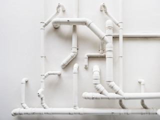 Pipeline Plumbing system on white wall