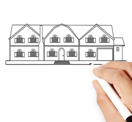Hand drawing  house model